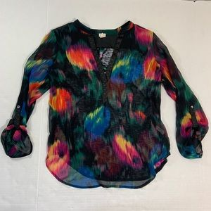 Anthropologie Tiny Watercolor Blouse Top S